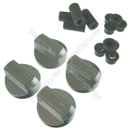 4 X AEG Universal Universal Cooker//Oven//Grill Control Knob And Adaptors Silver
