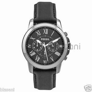 Fossil Original FS4812 Men's Grant Black Leather Watch 44mm 796483008182