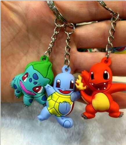 3pcs Pokemon Bulbasaur//Charmander//Squirtle 3cm-4cm Key Ring Chain Figure Set