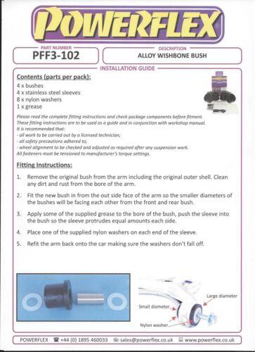 4 Pu-Douilles Bras De Suspension Roulement Essieu Avant Audi 80 90 Coupe Powerflex pff3-102