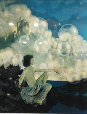 art nouveau BUBBLES vintage art new print possibly Maxfield Parrish