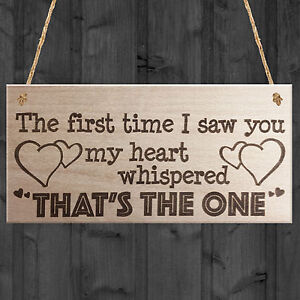 Details about The First Time I Saw You Wooden Hanging Plaque Soulmate  Valentine Love Gift Sign