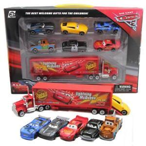 Disney-Pixar-Car-No-95-Mack-Racer-039-s-Truck-amp-Lightning-McQueen-Toy-Car-Gift-Box