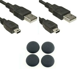 PS3-Thumb-Grips-2x-USB-Kabel-Controller-Ladekabel-fuer-PS3-1-8-Meter