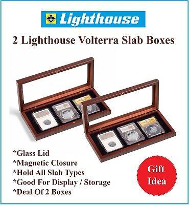Lighthouse 4 SLABS Glass Top Mahogany Box Presentation Display Case PCGS NGC NEW