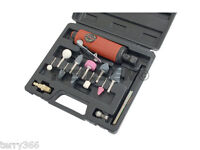 """15Pc 1/4"""" Air Angle Die Grinder Kit With Mounted Stones & 1/8"""" Collet Adaptor"""