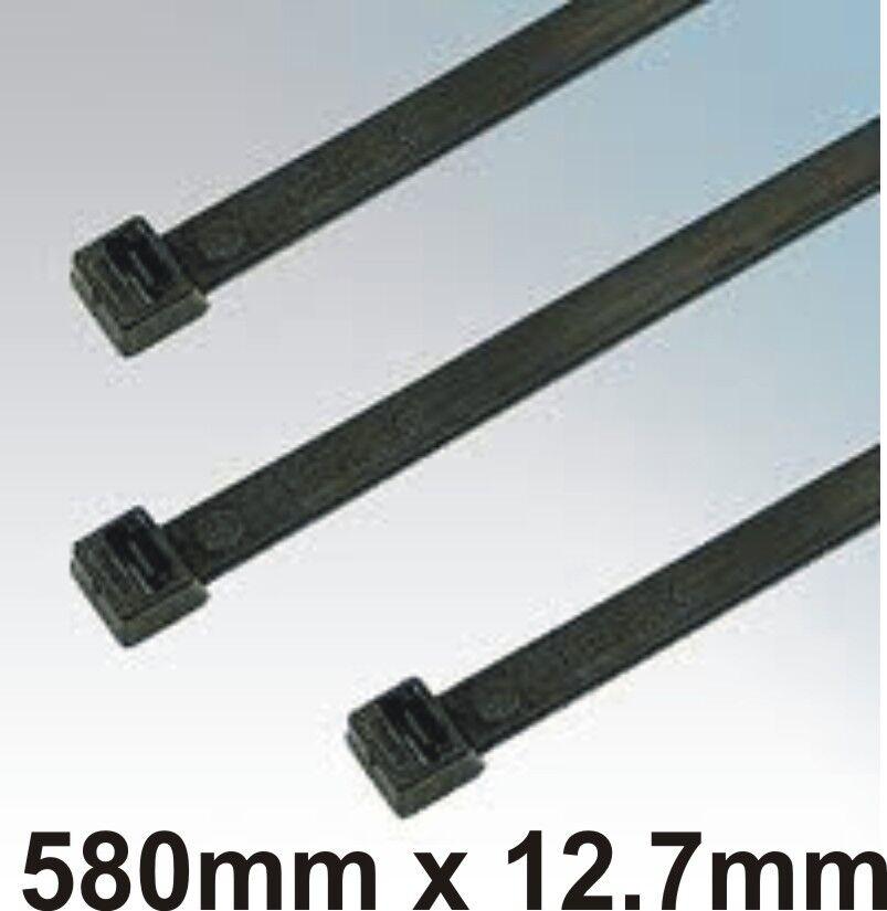 Cable Zip Ties Wraps Virgin Nylon Black 580 x 12.7mm 10pcs Self-Locking
