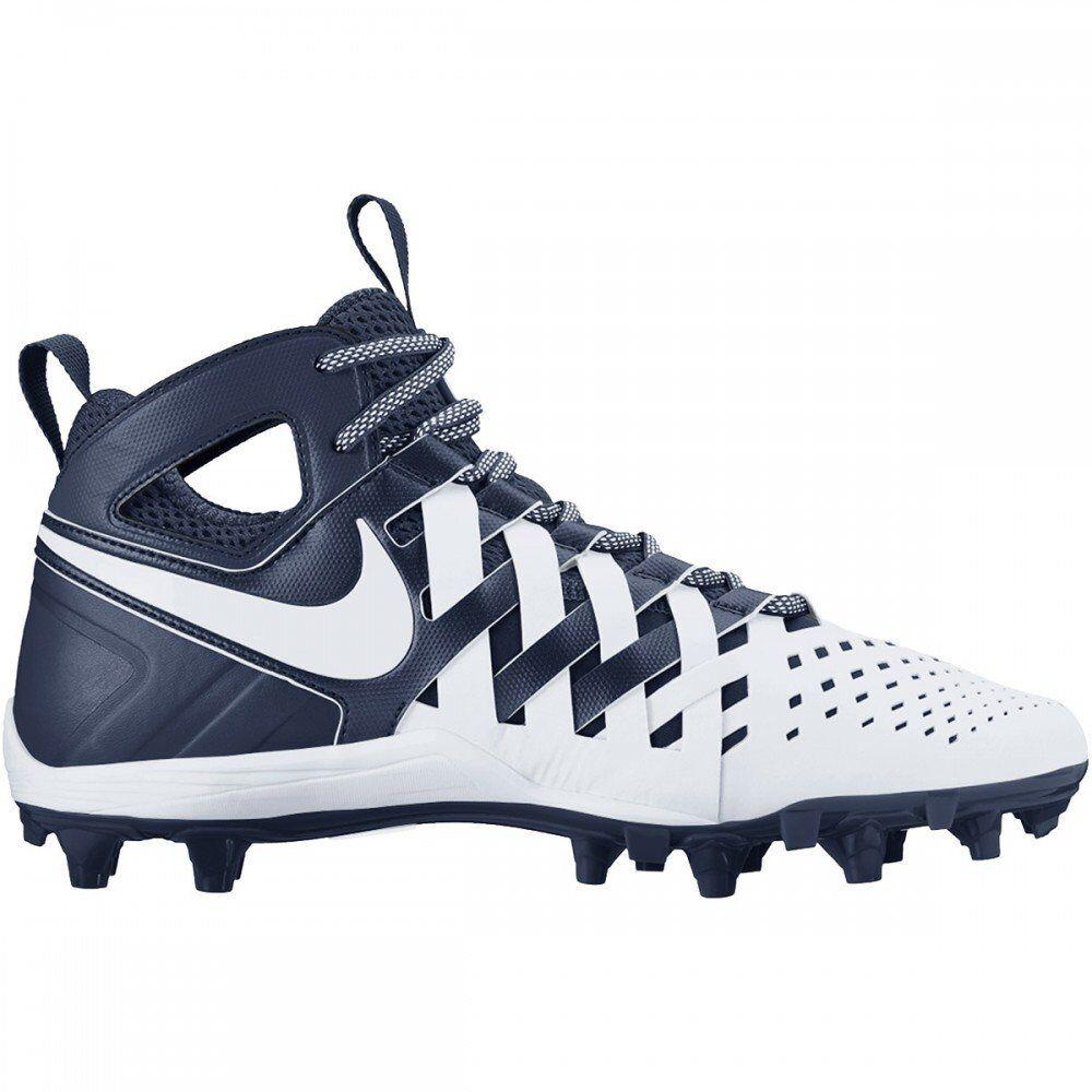 New mens 13 nike huarache 5 V mid lacrosse cleats LAX navy bluee white football