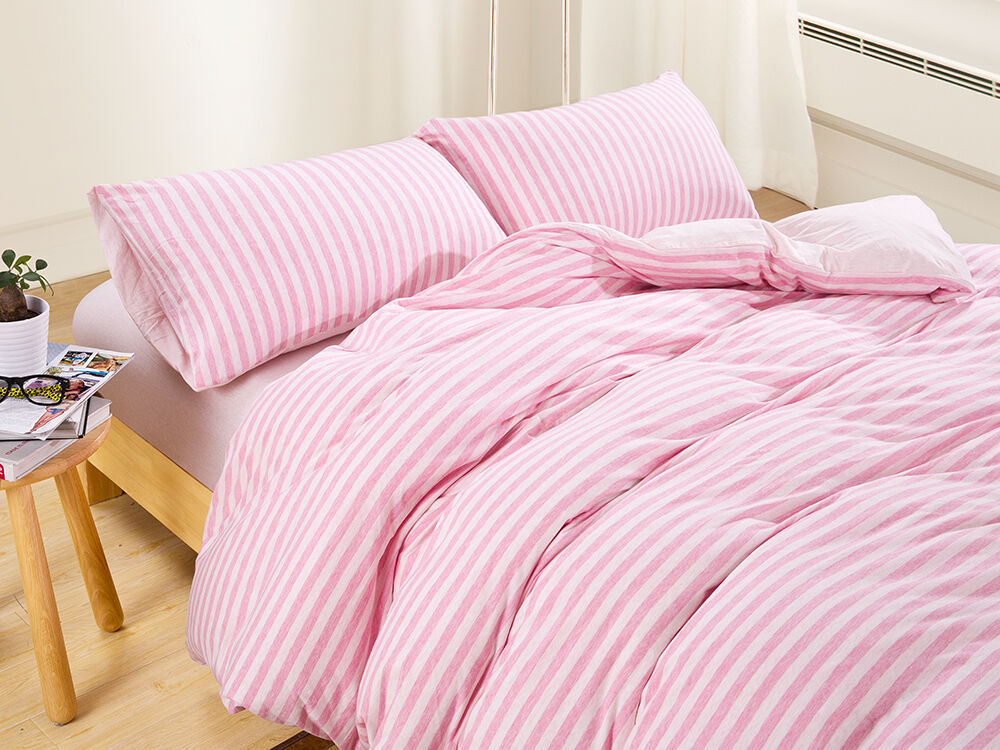 Striped 100%Cotton Jersey Quilt Covers King Queen Full Fitted Sheet Bedding Pink