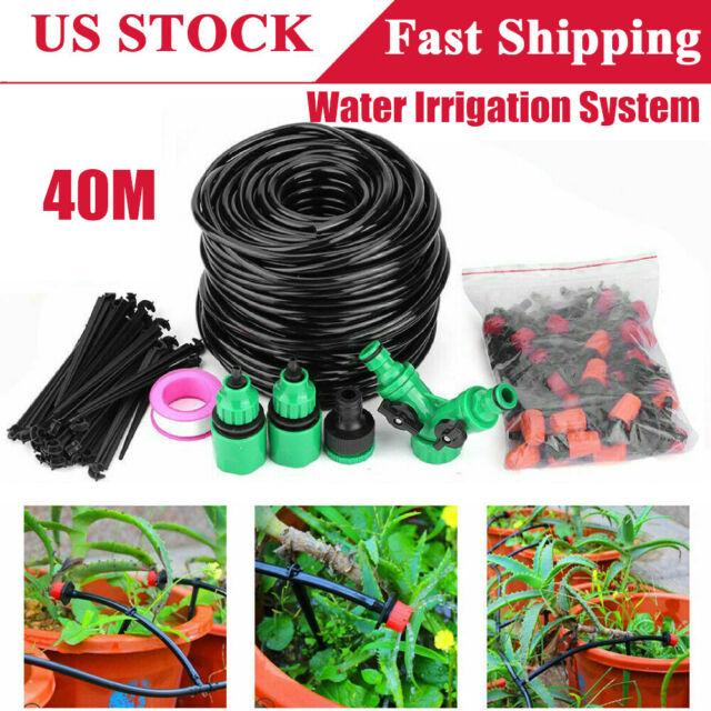 40M / 131FT DIY Micro Drip Irrigation System Garden Plant Self Watering  Hose Kit