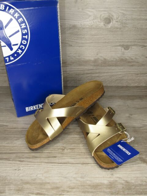 New ~ Birkenstock Women's Yao Balance Gold Slide Sandals Size 9 / 40 Narrow Fit
