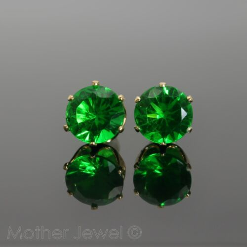 GORGEOUS LARGE 8MM EMERALD GREEN CZ YELLOW GOLD PLATED ROUND EARRINGS STUDS