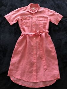 AS-NEW-TRENERY-by-COUNTRY-ROAD-Pink-Linen-Short-Sleeve-Shift-Shirt-Dress-8