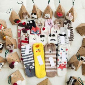 Animal-Women-Socks-Funny-Coral-fleece-Long-Night-Vintage-Sleeping-Socks-With-Box