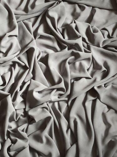 "3 x Mtr  Grey Moss Crepe Chiffon Fabric 58"" Wide Soft Sheer Bridal Dress Making"
