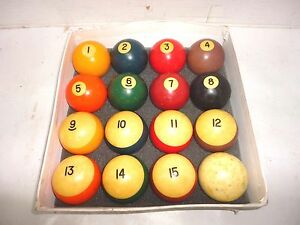 Image Is Loading Vintage Pool Billiard Ball Set 1 15 Amp