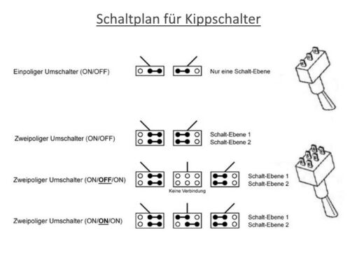 S044-20 Stück Schalter Miniatur Kippschalter 6-polig EIN//EIN oder AUS//EIN