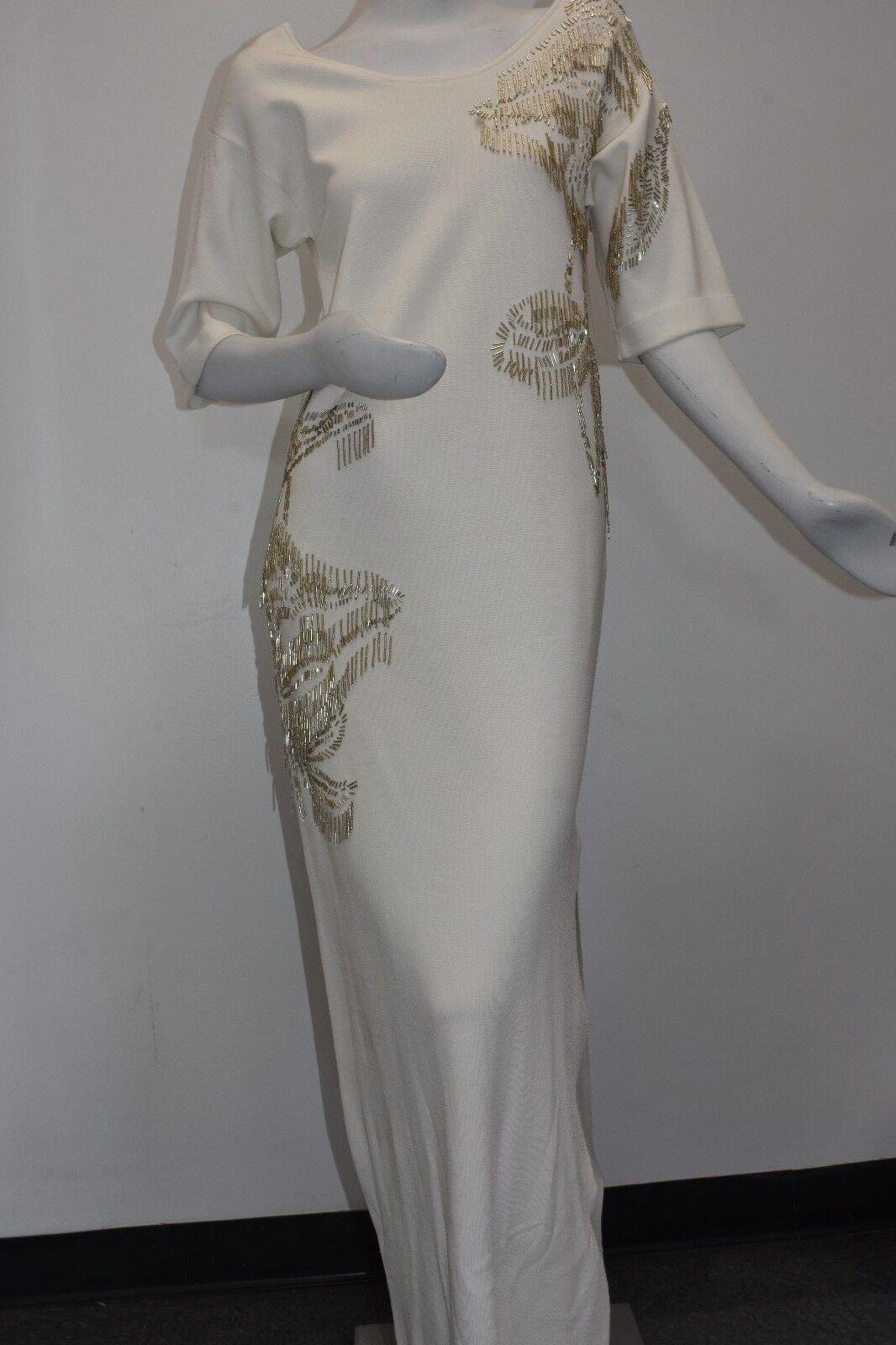 NEW ESCADA DINAR Dress Maxi Off White Viscose gold Beaded S
