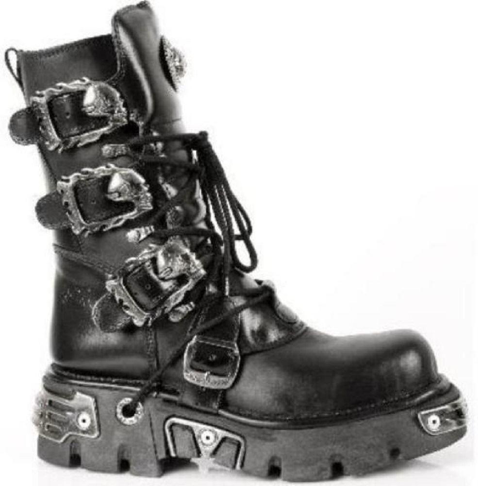 NEW Rock 391 S1 REATTORE Stivali Goth Goth Goth metallico Tutte le Taglie Unisex Nero al polpaccio 1cf123