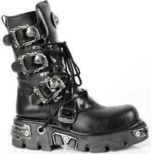 NEW ROCK 391 S1 Reactor Boots Goth Metallic All Sizes UNISEX Black Calf Length