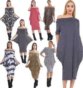 3e2a579876 Womens Off Shoulder Leopard Print Dress Ladies 3 4 Sleeve Oversized ...