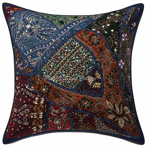 """Indian Beaded Pillow Cover Home Decor Patchwork Embroidered Cushion Cover 16/"""""""