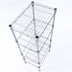 Image Is Loading 4 Tier Corner Shelves Wire Shelving Rack Shelf