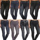 Plus Size Print Jeggings Jean Denim Look Leggings Distress Stretch Pant 1X 2X 3X