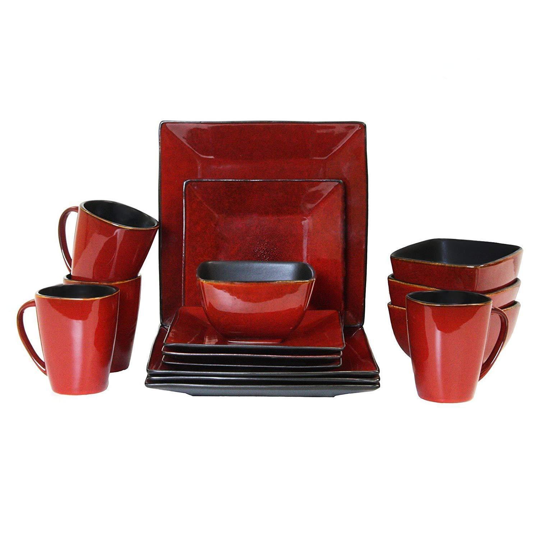 ELAMA Harland LOFT 16 pièces en grès carré plat Dinnerware Set Service pour 4