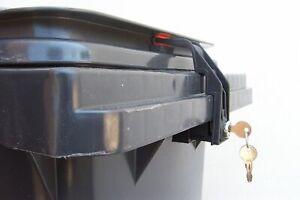 Mülltonnenverriegelung, Mülltonnenschloss 60 - 240 Liter Griffleiste mehr Schl.