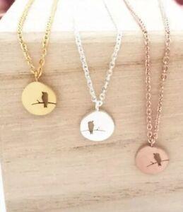 Damen-Kette-Halskette-Vogel-Ast-Bird-Gold-Rund-Edelstahl-Necklace