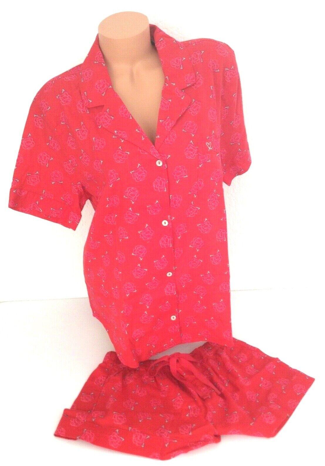 NEW Victoria's Secret Flannel Boxer PJ Pajama set shorts shirt cozy red floral L