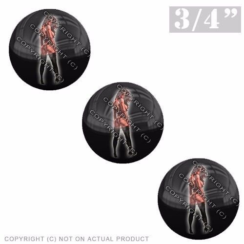 """3 Pack Gel Top Domed Glossy 3//4/"""" 3M Premium Decal Stickers PIN UP GIRL TATTOO R"""