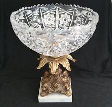 Vintage Crystal Fruit/Display Bowl Marble & Brass Pedestal Base