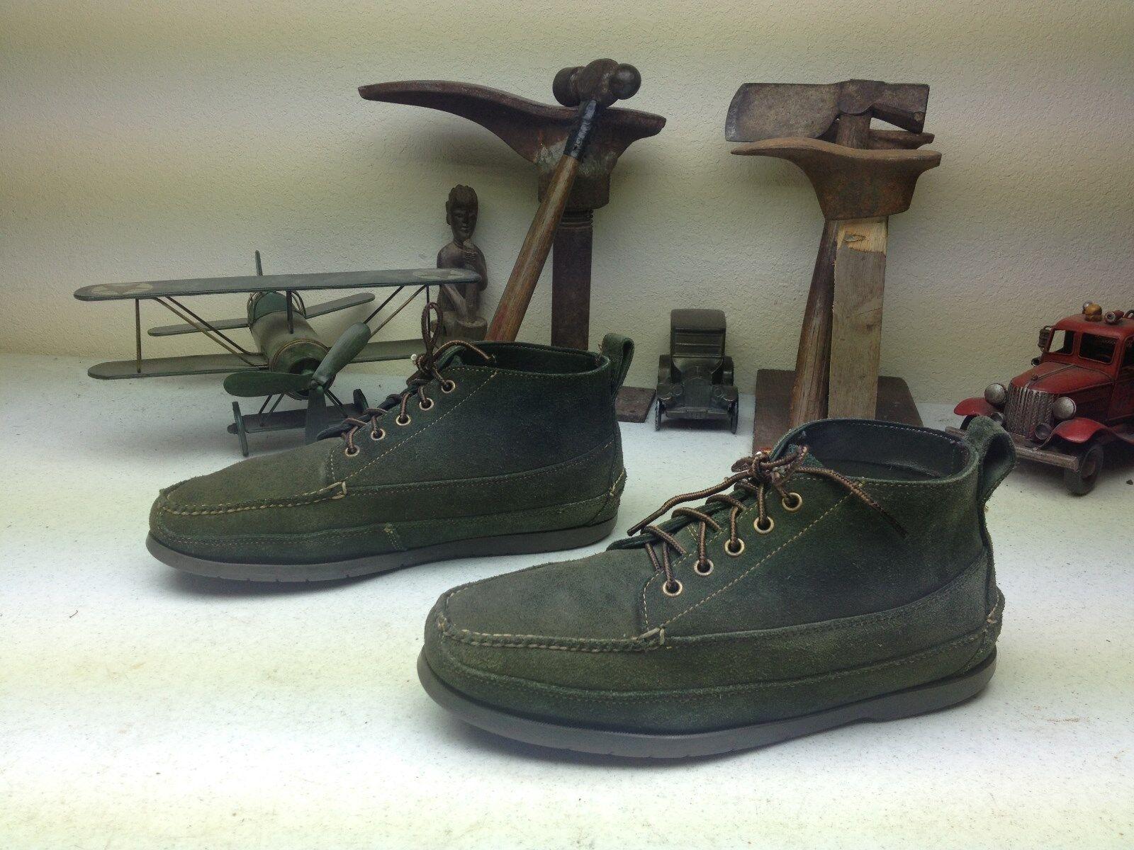 VINTAGE L.L. BEAN verde LEATHER LACE UP TRAIL HIKE PACKER CHUKKA stivali 10.5 D