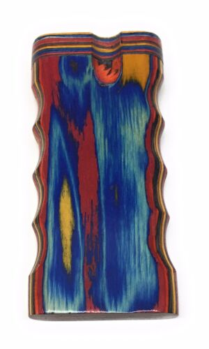 """4/"""" Colorful Wooden Tobacco Dugout Set with Pipe Easy Grip  3/"""" CERAMIC One Hitter"""