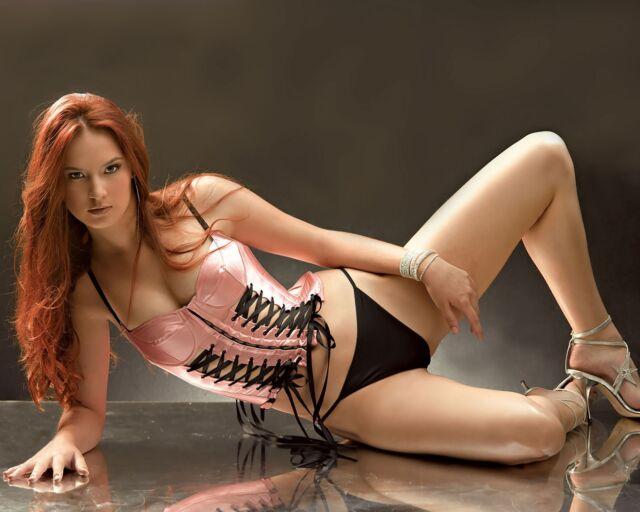 8 x 10 Cute Petite Red Hair Lingerie Model Undies Bra Pic XXX Photo Print P103