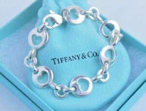 f6e8c6438d6f8 Details about Tiffany & Co Sterling Silver Stencil Heart Chain Link Love  Bracelet 7.25