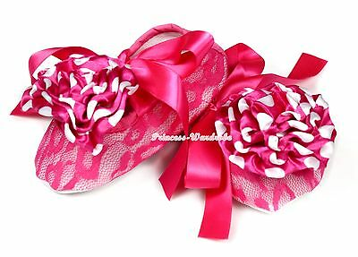 Baby Infant Toddler Girl Hot Pink Floral Lace Wif Ribbon Crib Flat Shoes NB-18M