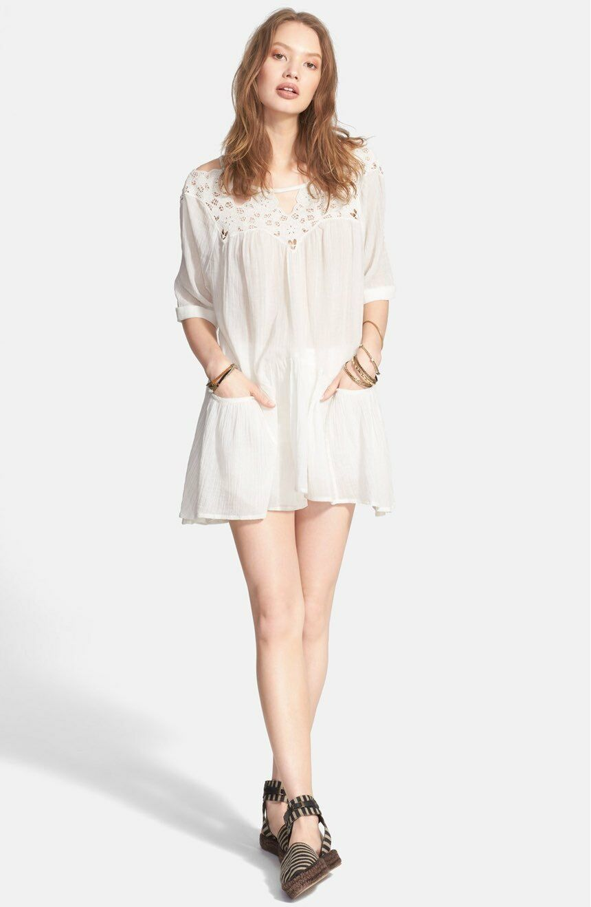 Free People Women's Ivory New Sun Moon Moon Moon Embroidered Lace Cut Out Peasant Dress M 0ac273
