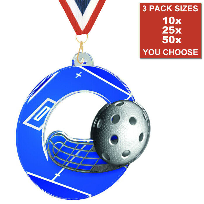 FLOORBALL CLUB ACRYLIC MEDAL 50mm-70mm, PACK OF 10 WITH RIBBONS, 3 PACK GrößeS