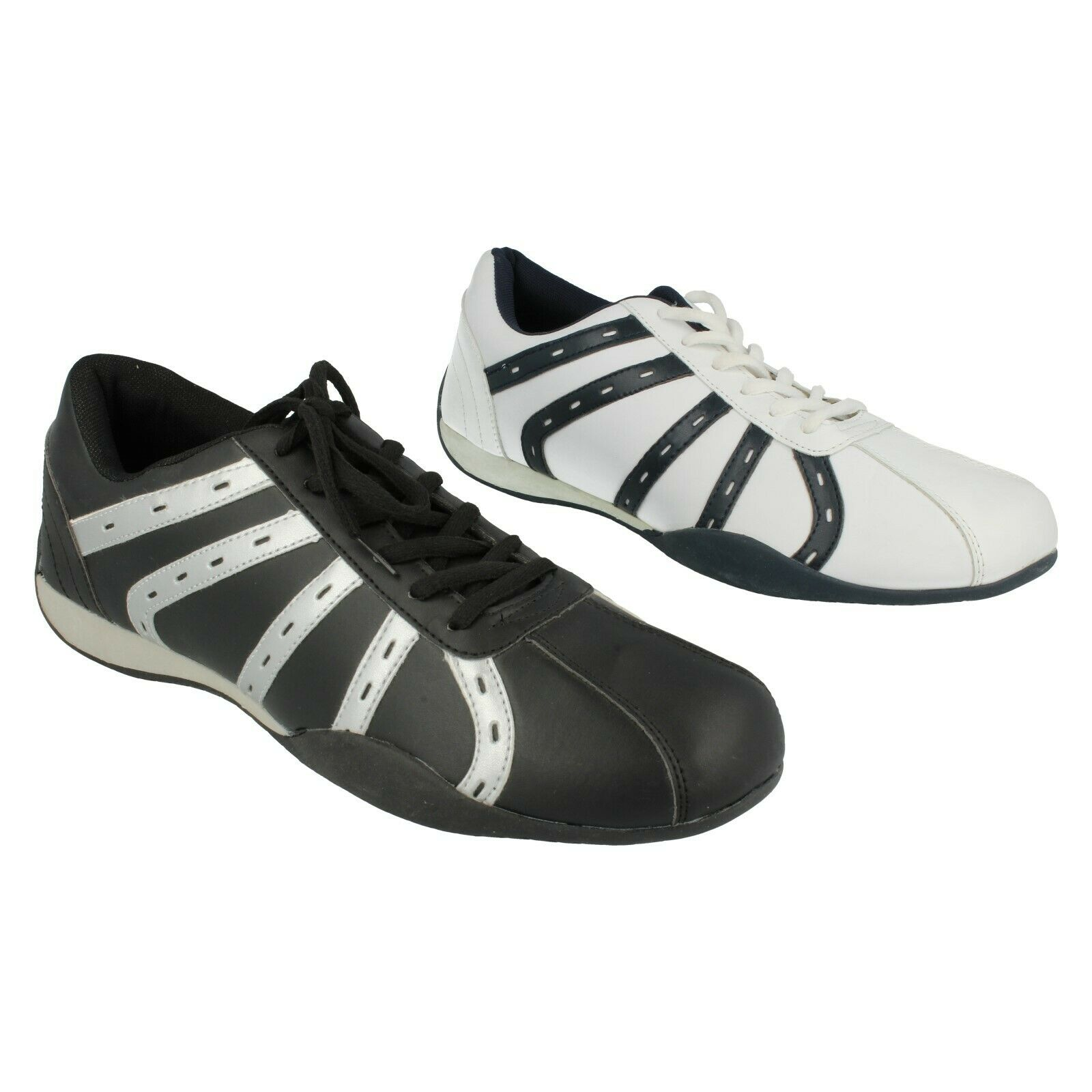 Mens Air-Tech Black & Silver or White / Navy Lace Up Trainers : Air-Tech - 2