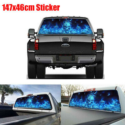 147x46cm Blue Flaming Skull Rear Window Sticker Decal For Truck Suv Jeep