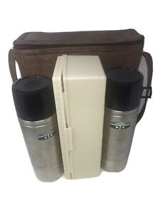2 Vintage Thermos Brand By King Seely Lunch Picnic Set Bag With Lunchbox GUC