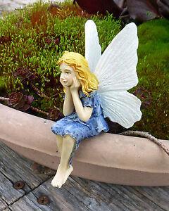 Dollhouse Miniature Fairy Garden Sitting Girl Fairy Cornflower, 16950