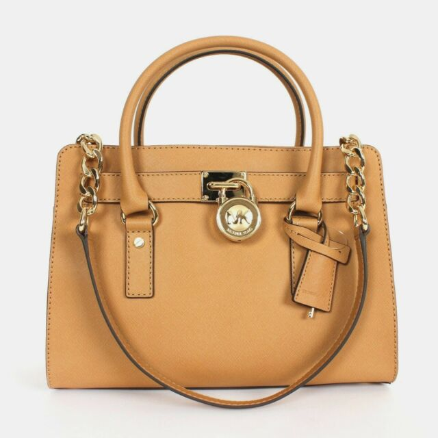 3cc23904962c6e Michael Kors Hamilton East West Saffiano Leather Medium Satchel Shoulder Bag  Tan