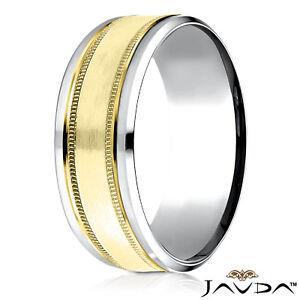 0f64f954a36a3 Details about 8mm Satin Milgrain Drop Bevel Edge Men's Comfort Fit Wedding  Band 2 Tone Gold