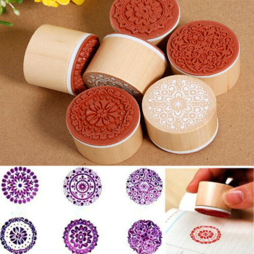 Set of 6 Vintage Floral Flower Round Wooden Rubber Stamp Scrapbooking Wedding