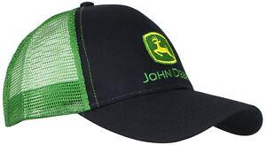 John-Deere-Mens-Logo-Mesh-Back-Core-Baseball-Trucker-Hat-Cap-Green-Black-New
