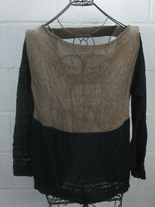 CNC-Costume-National-Womens-Black-Tan-Knit-Crochet-Back-Strap-Cutout-Sweater-L